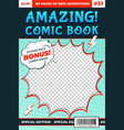 comic book cover comics template funny image vector image