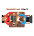 concept workplaces in coworking space for two vector image