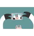 Cow makes selfie Farm Animal clicks on a vector image
