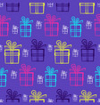 cute purple pattern with bright present boxes vector image