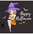 Cute young witch on a black background vector image vector image