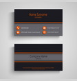 dark business card with orange elements template vector image vector image