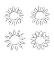 different black sun icons on white background vector image