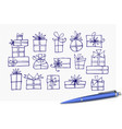 doodle christmas gift boxes vector image vector image