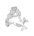 dreamy little mermaid floating with dolphin vector image vector image
