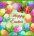 easter background with egg and butterfly vector image