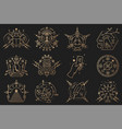esoteric symbols thin line geometric badge vector image
