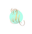 gold calligraphy letter u on circle blue vector image vector image