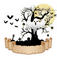 halloween banner with ghost pumpkin hung tree ba vector image