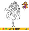 halloween coloring with colored example lady cat vector image
