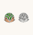 hands and green leaves logo organic natural vector image