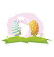 happy easter eggs painted with rabbit in the camp vector image