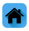 home page icon black silhouette on blue square vector image