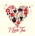 i love tea tea icons in heart vector image
