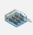 isometric low poly bit coin cryptocurrency vector image