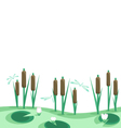 Lake reeds lilies in horizontal seamless border vector image vector image