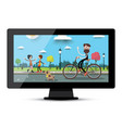 lcd monitor screen with city park flat landscape vector image vector image