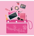 make up cosmetics tools collection inside girls vector image