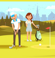 man golf player preparing to put ball in hole vector image vector image
