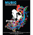 Music background with guitar player vector image