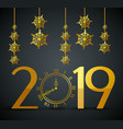 new 2019 year with flakes hangings vector image vector image