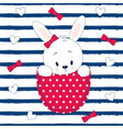 pattern little cartoon hare vector image vector image