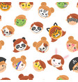 pattern with kid painted faces vector image
