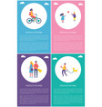 people in park having fun cartoon posters set vector image vector image