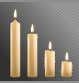 realistic detailed 3d burning wax candles set vector image vector image