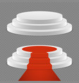 realistic pedestal set - 3d pedestal with red vector image vector image