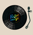 retro music poster with vinyl record and turntable vector image vector image