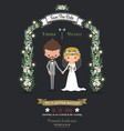 Rustic hipster romantic cartoon couple wedding vector image vector image