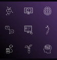 school icons line style set with hydrology self vector image vector image