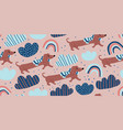 seamless pattern with cute dachshund dogs vector image