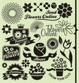 set flower symbols and icons vector image vector image