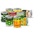 set of canned vegetable vector image