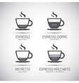 Set of coffee cups with a description of the type vector image vector image