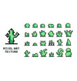 set of pixel art green bushes on white background vector image