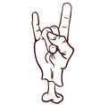 simple black and white devil horns hand sign vector image