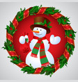 snowman in green holly wreath round frame vector image