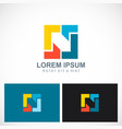 square geometry colorful technology logo vector image vector image