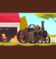 steam engine car composition vector image vector image