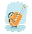 stylish yellow suitcase on wheels vector image