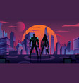 superhero couple in futuristic city 2 vector image vector image