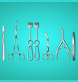 surgeon instruments on blue background vector image vector image