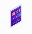 tablet isometric icon with touchscreen and website vector image