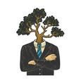 tree head businessman sketch vector image vector image