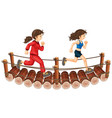 two girls running on the wooden bridge vector image vector image