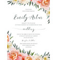 wedding floral invite invitation cute card design vector image vector image