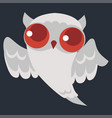 white halloween ghost owl poster vector image vector image